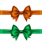 Set of Shiny Orange Green Satin Bows and Ribbons