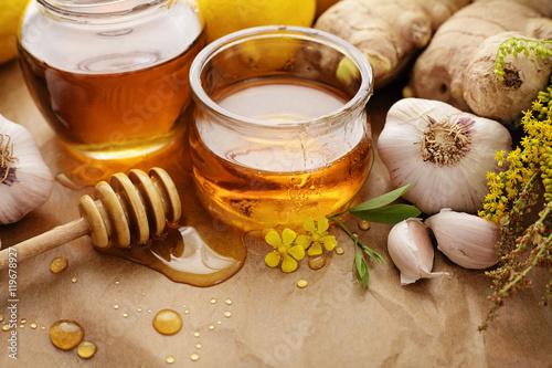 Poster Honey, ginger, lemon and garlic
