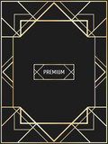 Vector geometric frame in Art Deco style. Rectangle vector abstract element for design. Premium vector frame in luxury style.