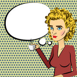 Cute woman blonde hair pop art drinking coffee