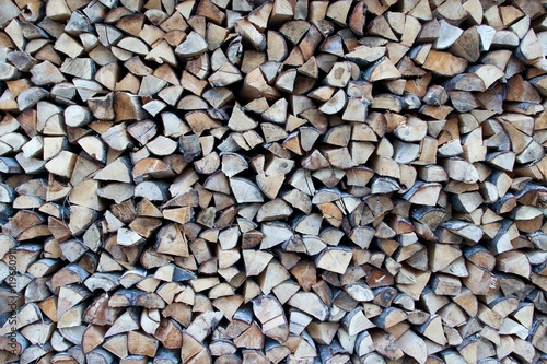 Dry chopped Firewood piled up.