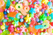 Many colorful candies of different form