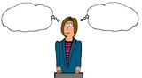 INSERT YOUR OWN TEXT.  Illustration of businesswoman with two differing thoughts.