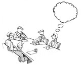 INSERT YOUR OWN TEXT.  Illustration of a business meeting and a businesswoman
