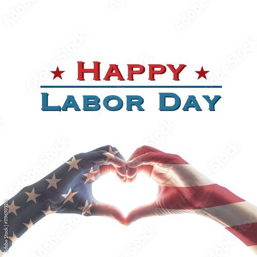 Poster American flag pattern on people hands in heart shaped form isolated on white background: Memorial day Happy columbus day Patriot day, USA Independence Labor Loyalty day symbolic concept