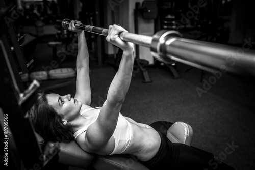 Woman in Gym Black and White