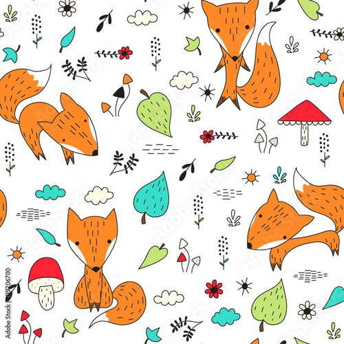 Cotton fabric Seamless pattern with foxes and plants.