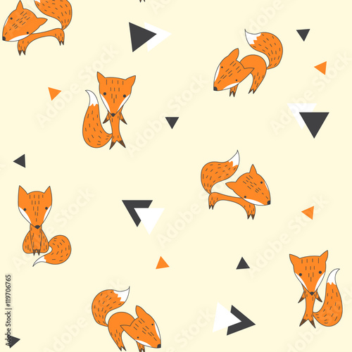 Cotton fabric Seamless pattern with foxes and triangles.