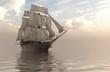 3D Illustration Sailboat On The Sea