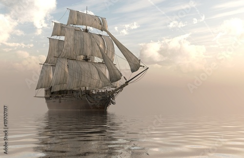 3D Illustration Sailboat On The Sea