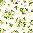 Vector seamless pattern with white roses and freesia flowers and green leaves.