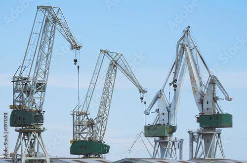 Poster Giant Shipyard Cranes