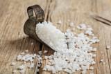 White salt in a scoop
