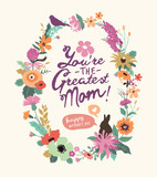 Fototapety Vintage style Mother's day greeting card with beautiful floral wreath