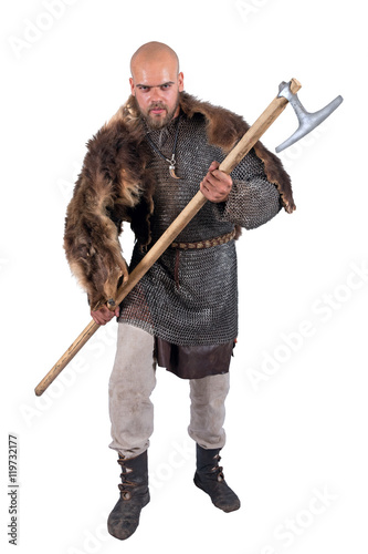 Medieval Viking armored attack with a battle-ax Poster