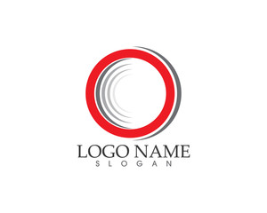 Red rings circle logo #vector