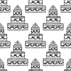 Wedding cake seamless pattern. Design element for wedding greeting card, valentines day invitation, honeymoon postcard. Vintage style, hand drawn pen and ink