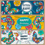 Set Happy Birthday vector cards. on decorated background. butterflies and flowers pattern, brochure, gift certificate, party invitation, congratulation