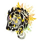 Grunge tribal stylized lion head. Growling lion head with colorful floral splashes and blood drops