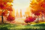 Fototapety Autumn landscape. Watercolor illustration.