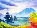Fototapety Autumn landscape. Watercolor illustration.
