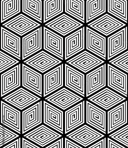 Staande foto Kunstmatig Contrast black and white symmetric seamless pattern with interwe