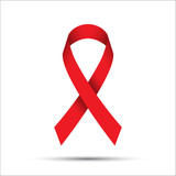 Red ribbon isolated on white background, aids awareness icon, vector illustration