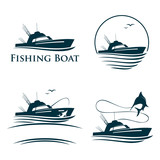 Collection of Fishing Boat Logo Template