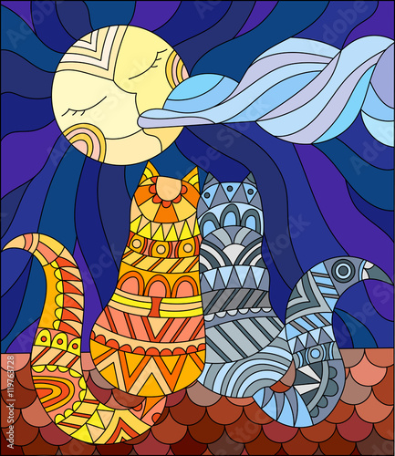 Naklejka A couple of cats in stained glass abstract style sitting on the roof against the sky and the moon