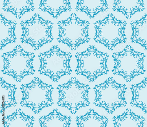 Keuken foto achterwand Vlinders in Grunge floral pattern of geometric elements. seamless pattern. blue color. vector illustration.