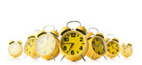 Many yellow alarm clock on white background. Stream of time concept.