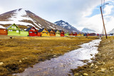 Colorful wooden houses at Longyearbyen in Svalbard