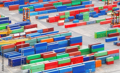 Aluminium Cargo freight containers in sea port.
