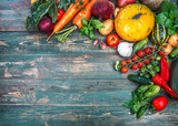 Harvest fresh vegetables autumn still-life on old - 119807109