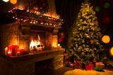 Fototapety christmas interior with tree, presents and fireplace