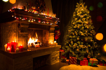 christmas interior with tree, presents and fireplace