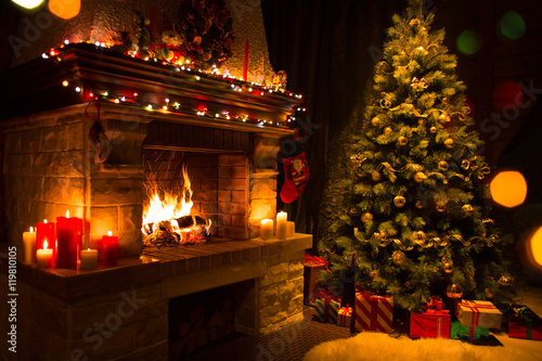 christmas interior with tree, presents and fireplace - 119810105