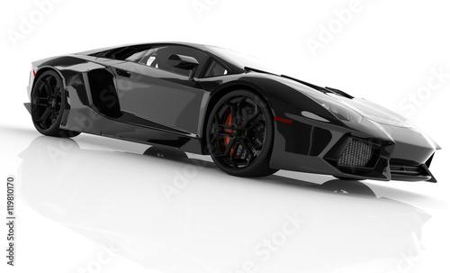 czarny-sportowy-samochod,-biale-tlo,-plakat