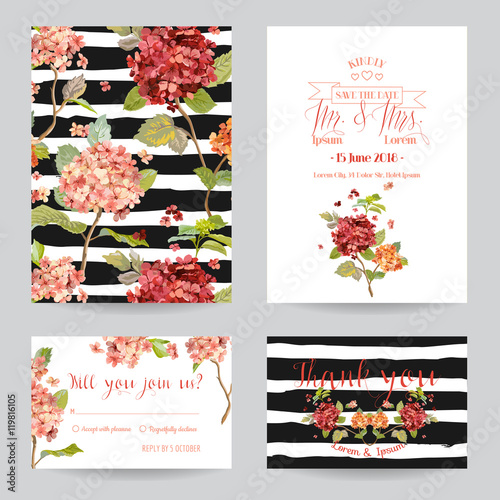 Greeting Wedding Card Set with Hortenzia Flowers