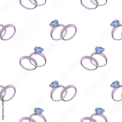 Engagement Ring 3 Seamless Pattern Watercolor Illustration Hand