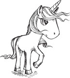 Sketch Doodle Unicorn Vector Illustration Art