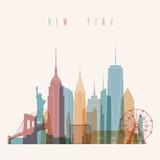 Fototapety Transparent styled New York City skyline detailed silhouette. Trendy vector illustration.