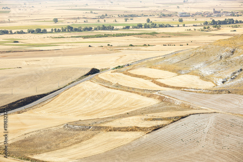 dry landscape with harvested fields on a summer day in Castrojeriz, Burgos, Spai