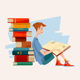 A boy reads a book and a pile of books. Literacy Day.