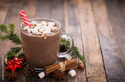 Papiers peints Chocolat Christmas hot chocolate with marshmallow