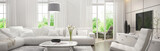 Fototapety White living room with terrace