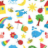 Kids drawings seamless pattern. Vector colorful background.