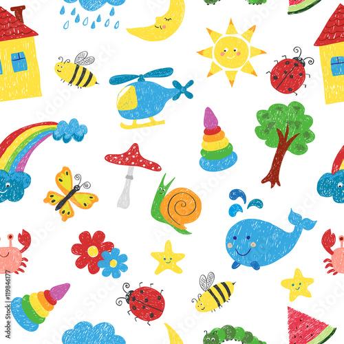 Fototapeta Kids drawings seamless pattern. Vector colorful background.
