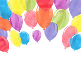 Watercolor colorful balloons. Vector celebration background.  - 119846334