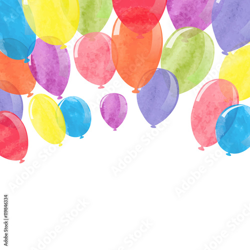 Watercolor colorful balloons. Vector celebration background.